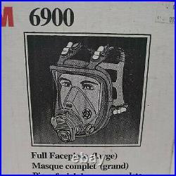 3M 6900 LARGE Full Face Respirator With P1OO Multi Gas/Vapor Cartridges NOS 1998