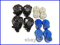 4 M-15 Survival Gas Masks Family Upgraded Kit With 40 Mm Nbc Filter