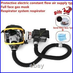 Electric Constant Flow Supplied Air Fed Full Face Respirator System Gas Mask