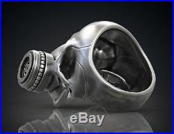Gothic Gas Mask Respirator SKULL Men's Biker Ring Oxidized 925 Sterling Silver