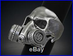 Gothic Gas Mask Respirator Skull Mens Biker Ring In Oxidized Silver Sterling 925