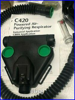 MSA C420 Powered Air Respirator with Millennium Gas Mask 4 Filters, 4 Batteries