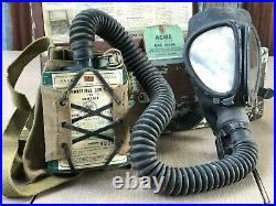 Military Style Acme Full Vision Miner Gas Mask Cannister Hose #4 in Box Complete