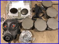 NEW Avon FM12 respirator gas mask medium with 6 sealed cbrn filters xtras dual