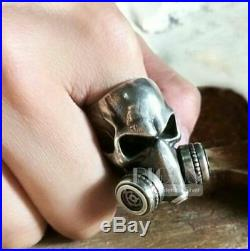 New Year Sale Gothic Gas Mask Respirator Respirator Skull 925 Silver Ring Gold