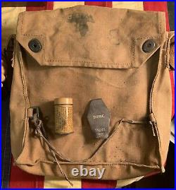 Original WWI US AEF Gas Mask Box Respirator with issued canvas bag