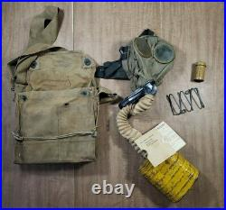 Vintage Original British WWI WW1 Gas Respirator Mask With Canister & Haversack Lot