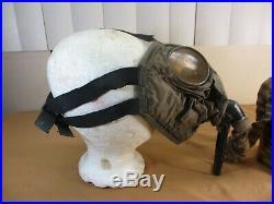 Vintage WWI Era English Model Canvas Gas Mask Respirator & Tank
