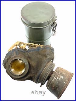 WW1 Imperial German Gasmask Respirator & Carry Tin